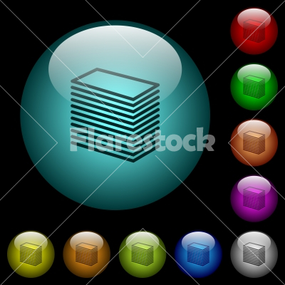 Paper stack icons in color illuminated glass buttons - Paper stack icons in color illuminated spherical glass buttons on black background. Can be used to black or dark templates