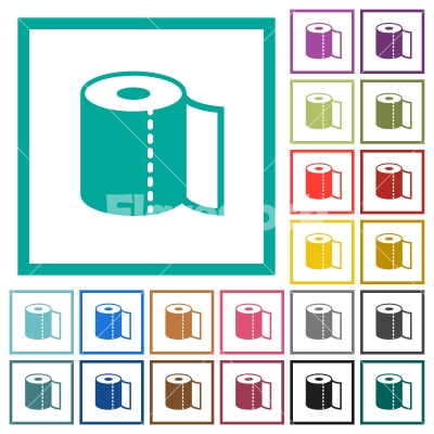 Paper towel flat color icons with quadrant frames - Paper towel flat color icons with quadrant frames on white background
