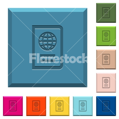 Passport engraved icons on edged square buttons - Passport engraved icons on edged square buttons in various trendy colors