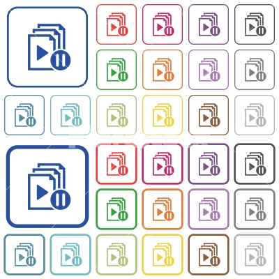Pause playlist outlined flat color icons - Pause playlist color flat icons in rounded square frames. Thin and thick versions included.