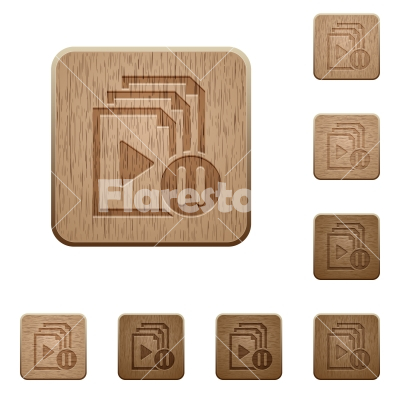 Pause playlist wooden buttons - Pause playlist on rounded square carved wooden button styles
