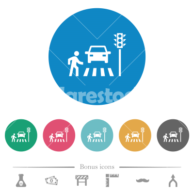 Pedestrian crossing flat round icons - Pedestrian crossing flat white icons on round color backgrounds. 6 bonus icons included.