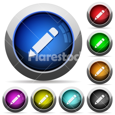 Pencil button set - Set of round glossy pencil buttons. Arranged layer structure.