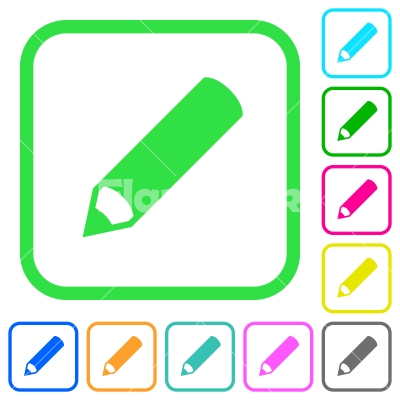 Pencil vivid colored flat icons - Pencil vivid colored flat icons in curved borders on white background