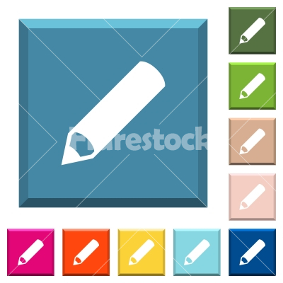 Pencil white icons on edged square buttons - Pencil white icons on edged square buttons in various trendy colors