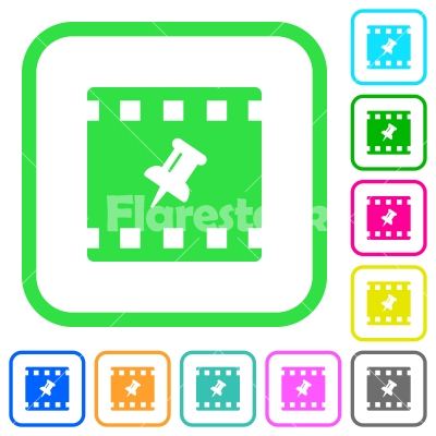 Pin movie vivid colored flat icons - Pin movie vivid colored flat icons in curved borders on white background