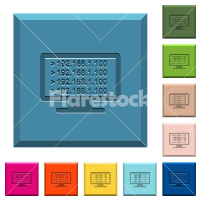 Ping remote computer engraved icons on edged square buttons - Ping remote computer engraved icons on edged square buttons in various trendy colors