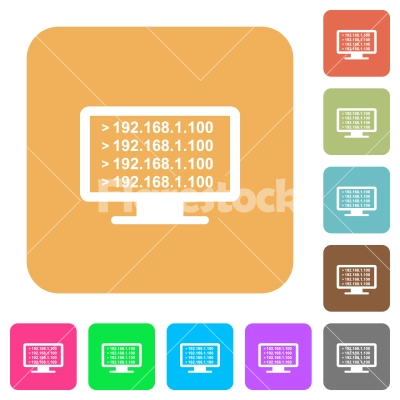 Ping remote computer rounded square flat icons - Ping remote computer flat icons on rounded square vivid color backgrounds. - Free stock vector