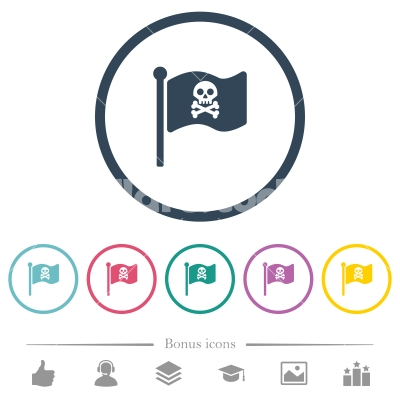 pirate flag flat color icons in round outlines stock vector flarestock www flarestock com
