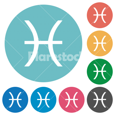 Pisces zodiac symbol flat round icons - Pisces zodiac symbol flat white icons on round color backgrounds