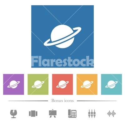 Planet flat white icons in square backgrounds - Planet flat white icons in square backgrounds. 6 bonus icons included. - Free stock vector