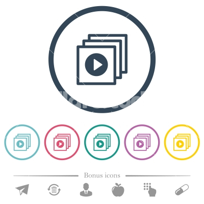 Play files flat color icons in round outlines - Play files flat color icons in round outlines. 6 bonus icons included.