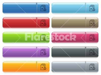 Playlist fast forward icons on color glossy, rectangular menu button - Playlist fast forward engraved style icons on long, rectangular, glossy color menu buttons. Available copyspaces for menu captions.