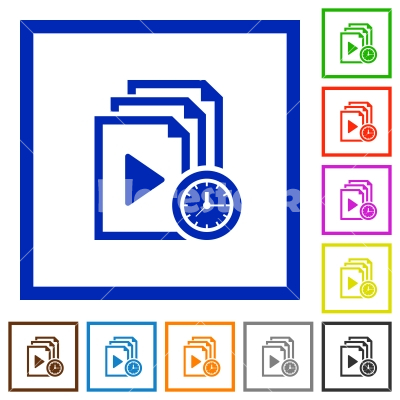 Playlist playing time flat framed icons - Playlist playing time flat color icons in square frames on white background