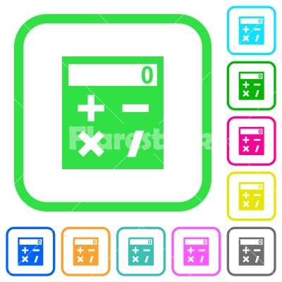 Pocket calculator vivid colored flat icons - Pocket calculator vivid colored flat icons in curved borders on white background