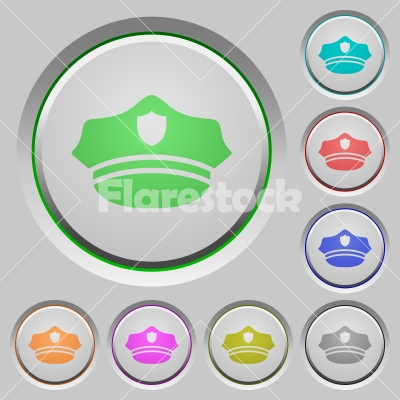 Police hat push buttons - Police hat color icons on sunk push buttons
