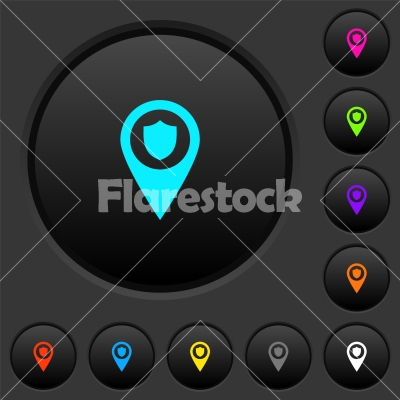 Police station GPS map location dark push buttons with color