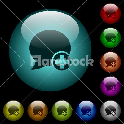 Post blog comment icons in color illuminated glass buttons - Post blog comment icons in color illuminated spherical glass buttons on black background. Can be used to black or dark templates