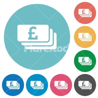 Pound banknotes flat icons - Pound banknotes white flat icons on color rounded square backgrounds - Free stock vector