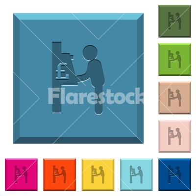 Pound cash machine engraved icons on edged square buttons - Pound cash machine engraved icons on edged square buttons in various trendy colors