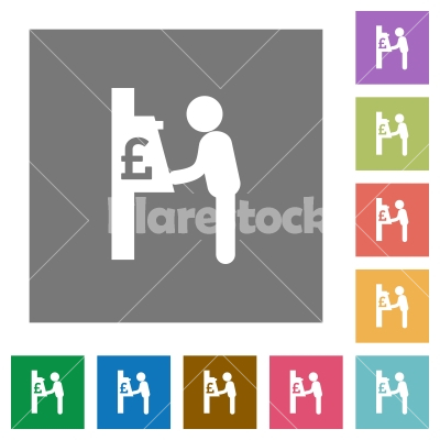 Pound cash machine square flat icons - Pound cash machine flat icons on simple color square backgrounds