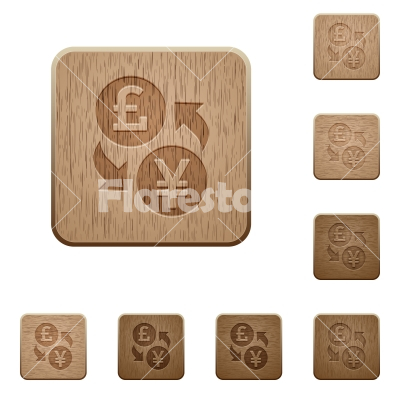 Pound Yen exchange wooden buttons - Pound Yen exchange icons in carved wooden button styles
