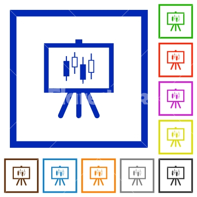 Presentation table with candlestick chart flat framed icons - Presentation table with candlestick chart flat color icons in square frames on white background