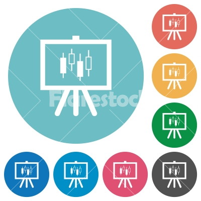 Presentation table with candlestick chart flat round icons - Presentation table with candlestick chart flat white icons on round color backgrounds - Free stock vector