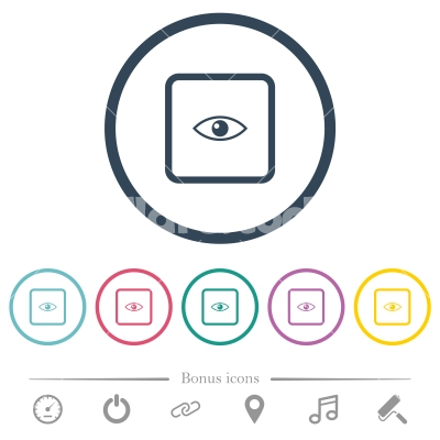 Preview object flat color icons in round outlines - Preview object flat color icons in round outlines. 6 bonus icons included. - Free stock vector