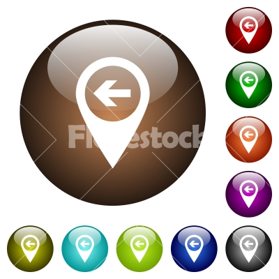 Previous target GPS map location color glass buttons - Previous target GPS map location white icons on round color glass buttons