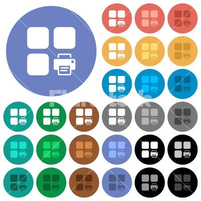 Print component round flat multi colored icons - Print component multi colored flat icons on round backgrounds. Included white, light and dark icon variations for hover and active status effects, and bonus shades on black backgounds.