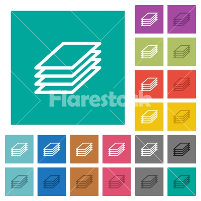 Printing papers square flat multi colored icons - Printing papers multi colored flat icons on plain square backgrounds. Included white and darker icon variations for hover or active effects.