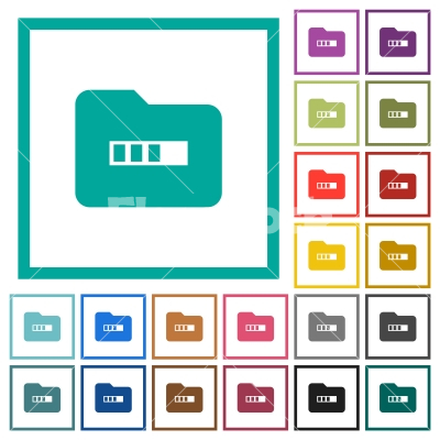 Processing folder flat color icons with quadrant frames - Processing folder flat color icons with quadrant frames on white background