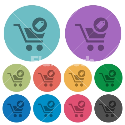 Product purchase features color darker flat icons - Product purchase features darker flat icons on color round background