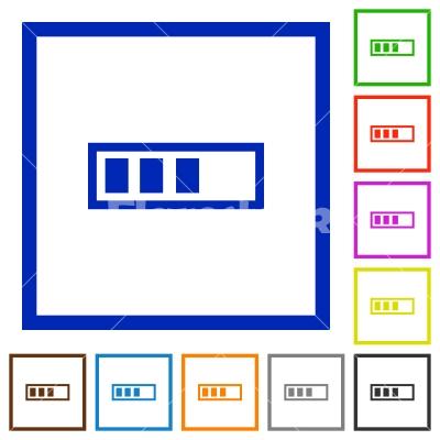 Progressbar framed flat icons - Set of color square framed Progressbar flat icons