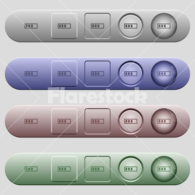 Progressbar icons on horizontal menu bars - Progressbar icons on rounded horizontal menu bars in different colors and button styles