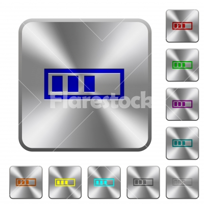 Progressbar rounded square steel buttons - Progressbar engraved icons on rounded square glossy steel buttons