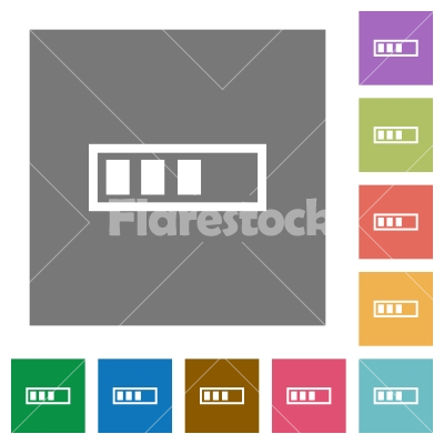 Progressbar square flat icons - Progressbar flat icons on simple color square backgrounds