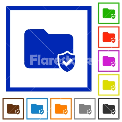 Protected folder framed flat icons - Set of color square framed protected folder flat icons - Free stock vector