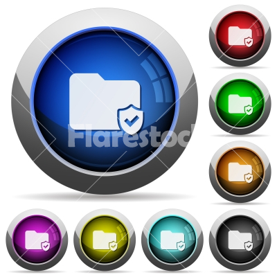 Protected folder glossy buttons - Protected folder icons in round glossy buttons with steel frames - Free stock vector