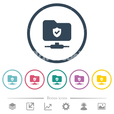 Protected FTP flat color icons in round outlines - Protected FTP flat color icons in round outlines. 6 bonus icons included.