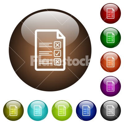 Questionnaire document color glass buttons - Questionnaire document white icons on round color glass buttons - Free stock vector