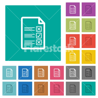 Questionnaire document square flat multi colored icons - Questionnaire document multi colored flat icons on plain square backgrounds. Included white and darker icon variations for hover or active effects.