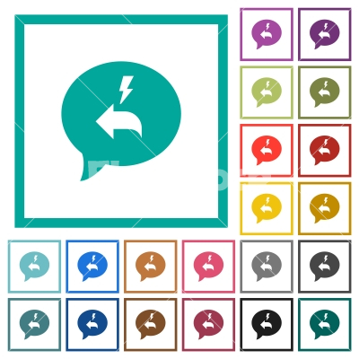 Quick reply message flat color icons with quadrant frames - Quick reply message flat color icons with quadrant frames on white background