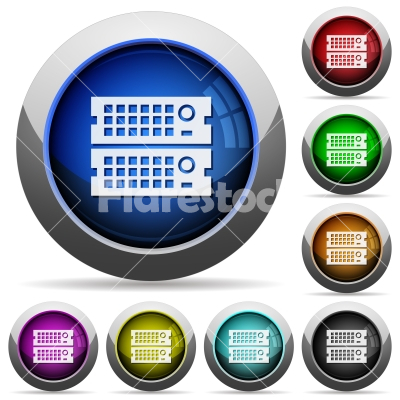 Rack servers button set - Set of round glossy Rack servers buttons. Arranged layer structure.