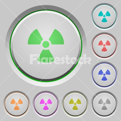 Radiation push buttons - Set of color radiation sunk push buttons.