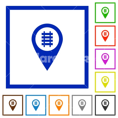 Railroad GPS map location flat framed icons - Railroad GPS map location flat color icons in square frames on white background