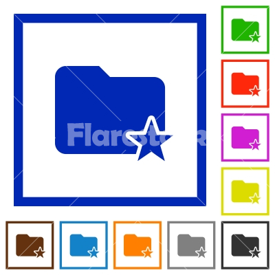 Rank folder framed flat icons - Set of color square framed Rank folder flat icons