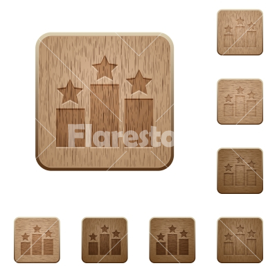 Ranking wooden buttons - Set of carved wooden Ranking buttons in 8 variations.