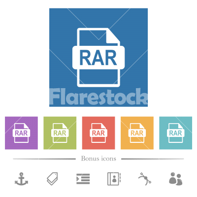 RAR file format flat white icons in square backgrounds - RAR file format flat white icons in square backgrounds. 6 bonus icons included.
